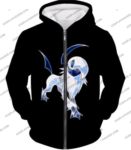 Image of Pokemon Super Cool Disaster Absol Awesome Promo Black T-Shirt Pkm127 Zip Up Hoodie / Us Xxs (Asian