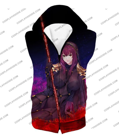 Image of Fate Stay Night Grand Order Lord Of Spirits Scathach Action T-Shirt Fsn127 Hooded Tank Top / Us Xxs
