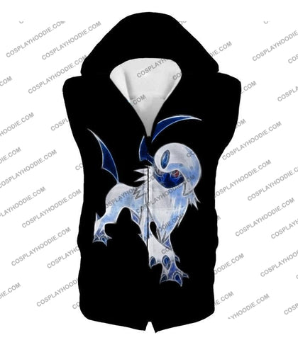 Image of Pokemon Super Cool Disaster Absol Awesome Promo Black T-Shirt Pkm127 Hooded Tank Top / Us Xxs (Asian