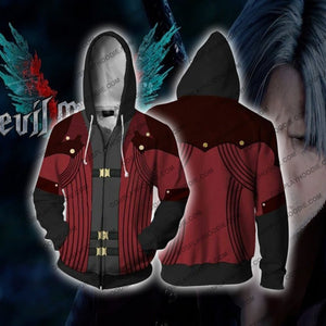 Devil May Cry 5 Dante Tony Redgrave Hoodie Cosplay Jacket Zip Up