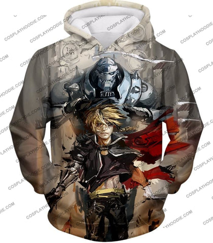 Image of Fullmetal Alchemist Amazing Elrich Brothers Edward X Alphonse Awesome Anime Art T-Shirt Fa013 Hoodie