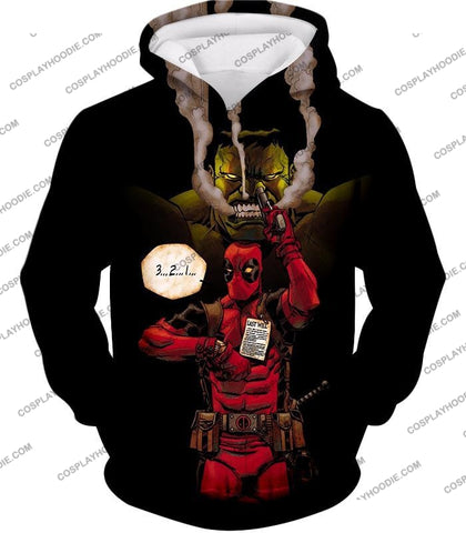 Image of Awesome Deadpool Action Ft Angry Hulk Cool Black T-Shirt Dp013 Hoodie / Us Xxs (Asian Xs)