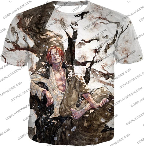 Image of One Piece Coolest Pirate Emperor Shanks Awesome T-Shirt Op013 / Us Xxs (Asian Xs)
