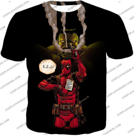Image of Awesome Deadpool Action Ft Angry Hulk Cool Black T-Shirt Dp013 / Us Xxs (Asian Xs)