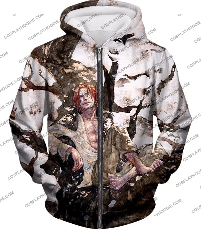 One Piece Coolest Pirate Emperor Shanks Awesome T-Shirt Op013 Zip Up Hoodie / Us Xxs (Asian Xs)