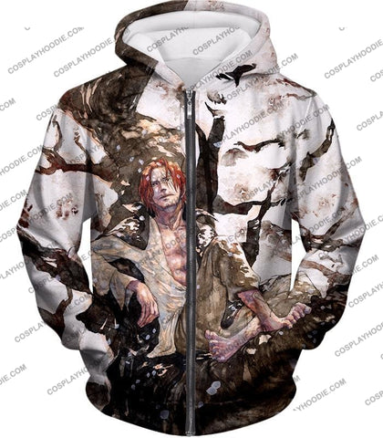Image of One Piece Coolest Pirate Emperor Shanks Awesome T-Shirt Op013 Zip Up Hoodie / Us Xxs (Asian Xs)