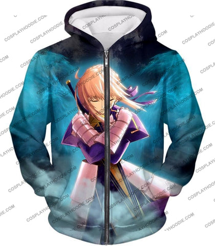 Image of Fate Stay Night Cool King Arthur Saber Class Altria T-Shirt Fsn013 Zip Up Hoodie / Us Xxs (Asian Xs)