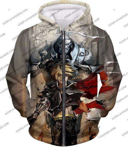 Image of Fullmetal Alchemist Amazing Elrich Brothers Edward X Alphonse Awesome Anime Art T-Shirt Fa013 Zip Up