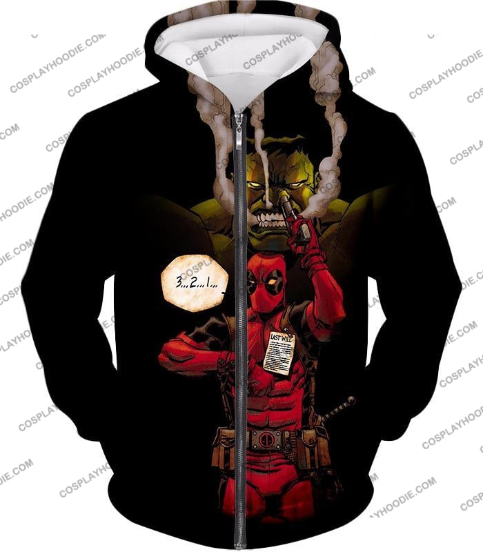Awesome Deadpool Action Ft Angry Hulk Cool Black T-Shirt Dp013 Zip Up Hoodie / Us Xxs (Asian Xs)