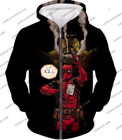 Image of Awesome Deadpool Action Ft Angry Hulk Cool Black T-Shirt Dp013 Zip Up Hoodie / Us Xxs (Asian Xs)
