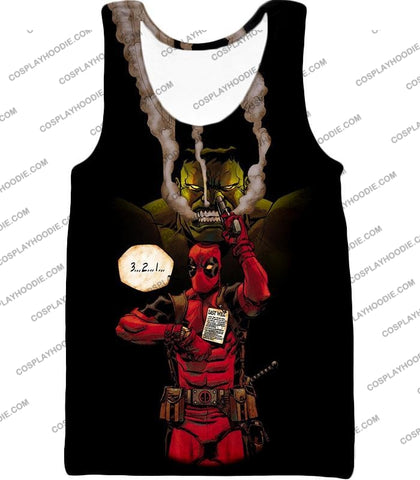 Image of Awesome Deadpool Action Ft Angry Hulk Cool Black T-Shirt Dp013 Tank Top / Us Xxs (Asian Xs)