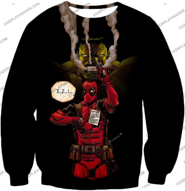 Awesome Deadpool Action Ft Angry Hulk Cool Black T-Shirt Dp013 Sweatshirt / Us Xxs (Asian Xs)