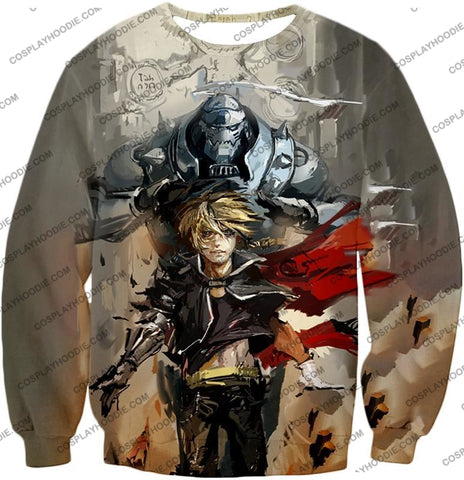 Image of Fullmetal Alchemist Amazing Elrich Brothers Edward X Alphonse Awesome Anime Art T-Shirt Fa013