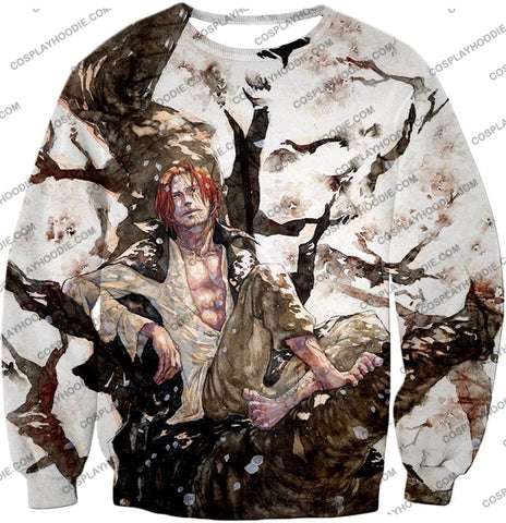 Image of One Piece Coolest Pirate Emperor Shanks Awesome T-Shirt Op013 Sweatshirt / Us Xxs (Asian Xs)