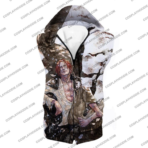 Image of One Piece Coolest Pirate Emperor Shanks Awesome T-Shirt Op013 Hooded Tank Top / Us Xxs (Asian Xs)