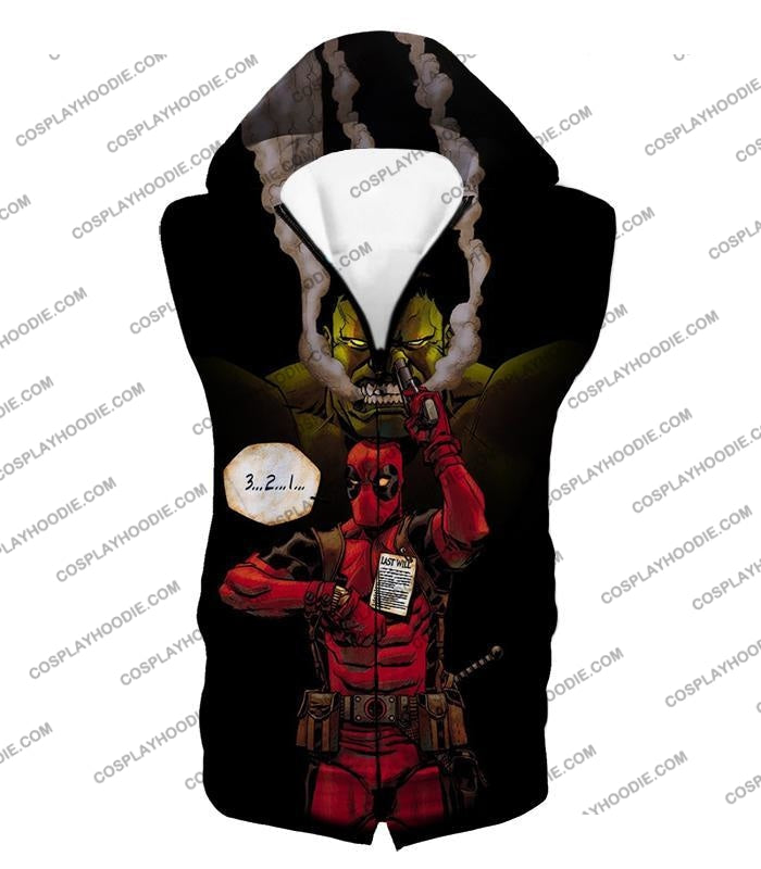 Awesome Deadpool Action Ft Angry Hulk Cool Black T-Shirt Dp013 Hooded Tank Top / Us Xxs (Asian Xs)