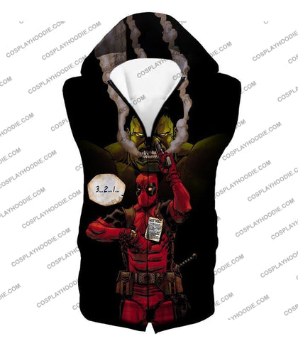 Image of Awesome Deadpool Action Ft Angry Hulk Cool Black T-Shirt Dp013 Hooded Tank Top / Us Xxs (Asian Xs)