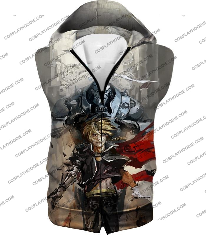 Fullmetal Alchemist Amazing Elrich Brothers Edward X Alphonse Awesome Anime Art T-Shirt Fa013 Hooded