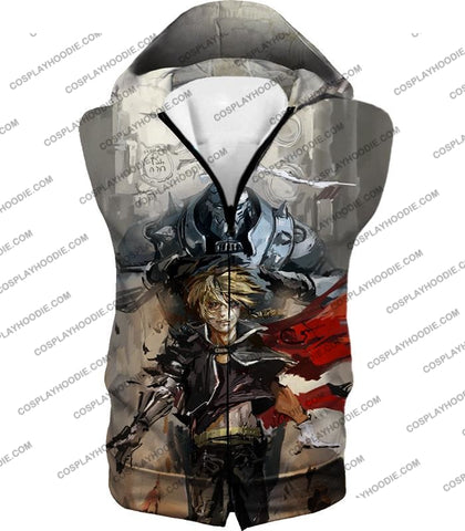 Image of Fullmetal Alchemist Amazing Elrich Brothers Edward X Alphonse Awesome Anime Art T-Shirt Fa013 Hooded
