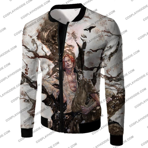 Image of One Piece Coolest Pirate Emperor Shanks Awesome T-Shirt Op013 Jacket / Us Xxs (Asian Xs)
