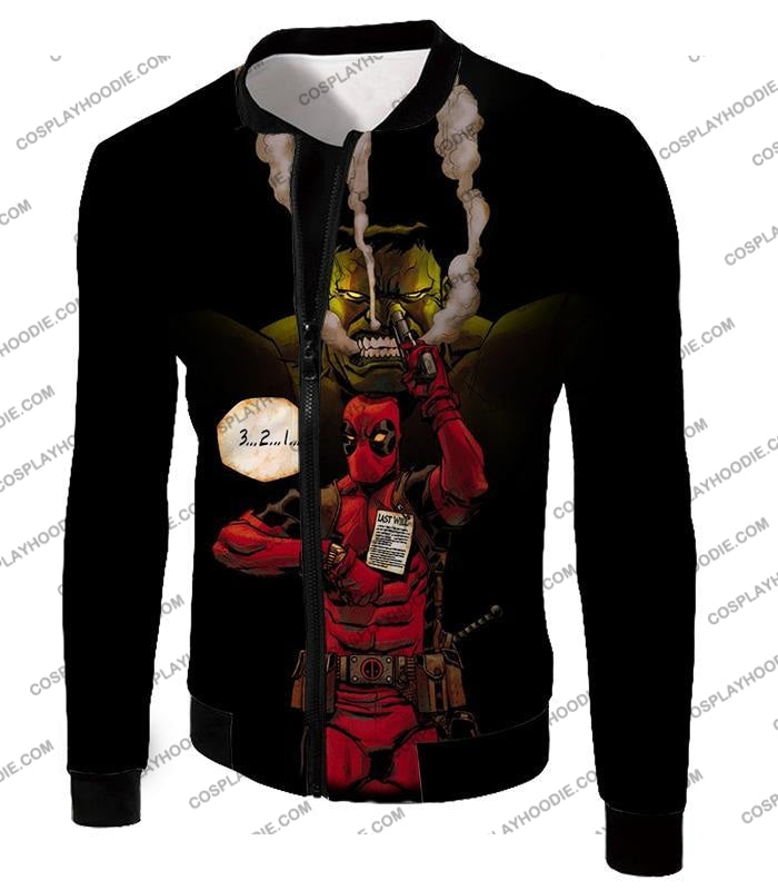 Awesome Deadpool Action Ft Angry Hulk Cool Black T-Shirt Dp013 Jacket / Us Xxs (Asian Xs)