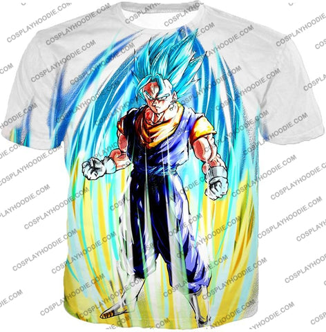 Image of Dragon Ball Super Powerful Fusion Warrior Vegito Saiyan Blue Ultimate Action White T-Shirt Dbs130 /
