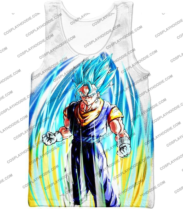 Dragon Ball Super Powerful Fusion Warrior Vegito Saiyan Blue Ultimate Action White T-Shirt Dbs130