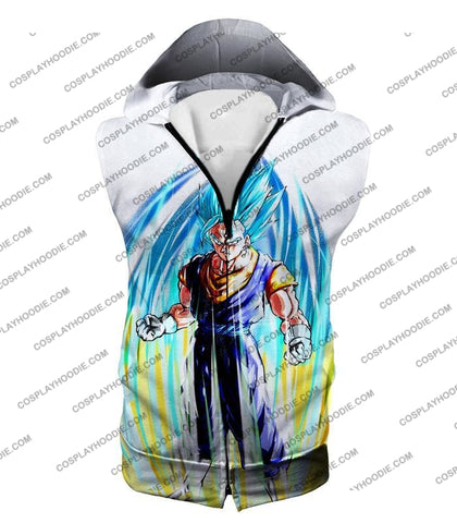 Image of Dragon Ball Super Powerful Fusion Warrior Vegito Saiyan Blue Ultimate Action White T-Shirt Dbs130