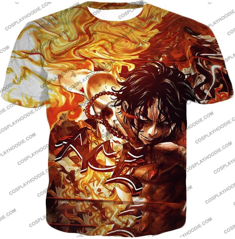 Image of One Piece Cool Pirate Portgas D Ace Aka Fire Fist Action T-Shirt Op132 / Us Xxs (Asian Xs)