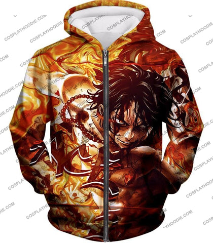 Image of One Piece Cool Pirate Portgas D Ace Aka Fire Fist Action T-Shirt Op132 Zip Up Hoodie / Us Xxs (Asian