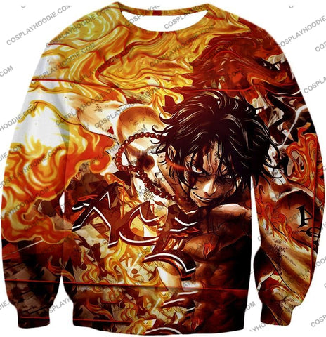 Image of One Piece Cool Pirate Portgas D Ace Aka Fire Fist Action T-Shirt Op132 Sweatshirt / Us Xxs (Asian