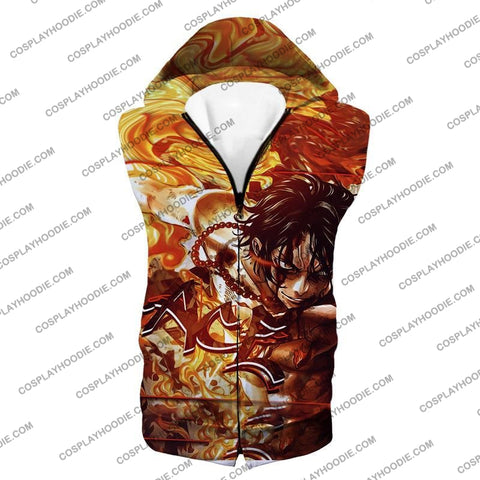 Image of One Piece Cool Pirate Portgas D Ace Aka Fire Fist Action T-Shirt Op132 Hooded Tank Top / Us Xxs