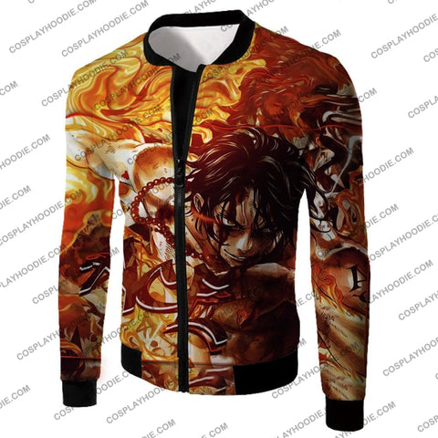 Image of One Piece Cool Pirate Portgas D Ace Aka Fire Fist Action T-Shirt Op132 Jacket / Us Xxs (Asian Xs)
