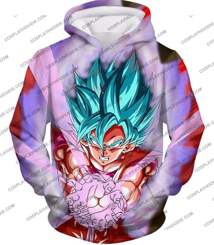 Image of Dragon Ball Super Goku Saiyan Blue Godly Mode Ultimate Action T-Shirt Dbs134 Hoodie / Us Xxs (Asian