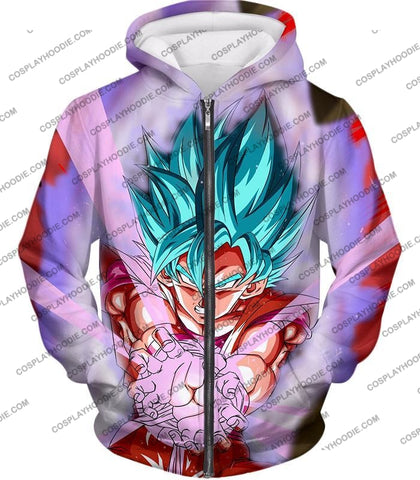 Image of Dragon Ball Super Goku Saiyan Blue Godly Mode Ultimate Action T-Shirt Dbs134 Zip Up Hoodie / Us Xxs
