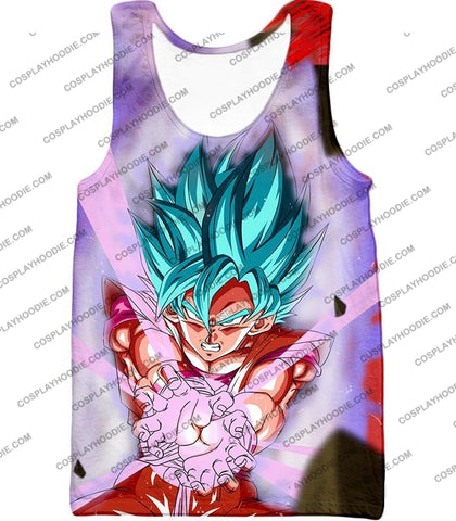 Image of Dragon Ball Super Goku Saiyan Blue Godly Mode Ultimate Action T-Shirt Dbs134 Tank Top / Us Xxs