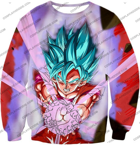 Image of Dragon Ball Super Goku Saiyan Blue Godly Mode Ultimate Action T-Shirt Dbs134 Sweatshirt / Us Xxs