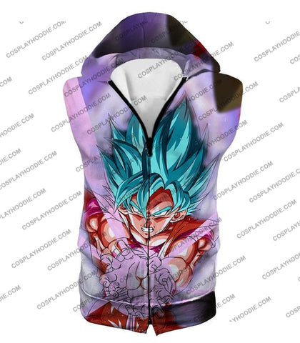 Image of Dragon Ball Super Goku Saiyan Blue Godly Mode Ultimate Action T-Shirt Dbs134 Hooded Tank Top / Us