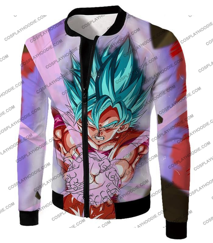 Dragon Ball Super Goku Saiyan Blue Godly Mode Ultimate Action T-Shirt Dbs134 Jacket / Us Xxs (Asian