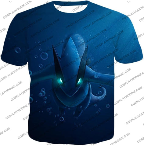 Image of Pokemon Very Cool Legendary Lugia Action Anime Graphic T-Shirt Pkm135 / Us Xxs (Asian Xs)