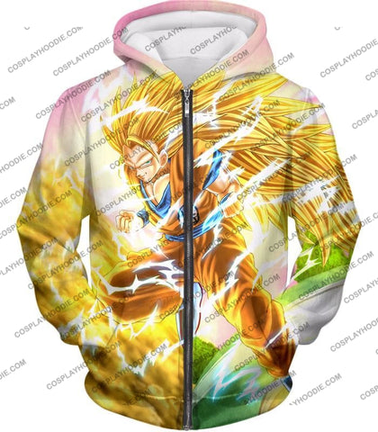 Image of Dragon Ball Super Awesome Saiyan 3 Goku Cool Anime Promo Graphic T-Shirt Dbs135 Zip Up Hoodie / Us