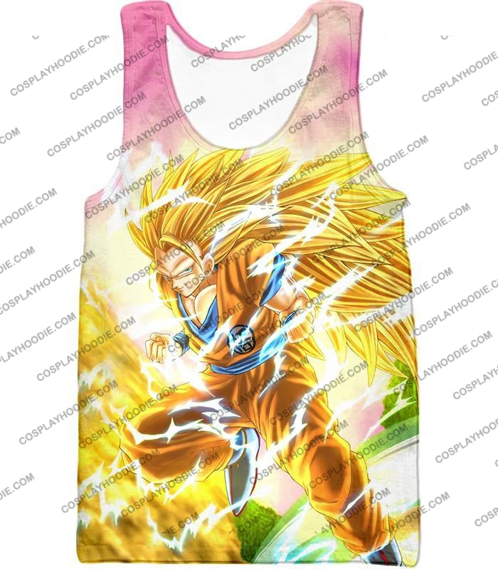 Dragon Ball Super Awesome Saiyan 3 Goku Cool Anime Promo Graphic T-Shirt Dbs135 Tank Top / Us Xxs
