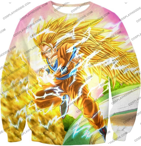 Image of Dragon Ball Super Awesome Saiyan 3 Goku Cool Anime Promo Graphic T-Shirt Dbs135 Sweatshirt / Us Xxs