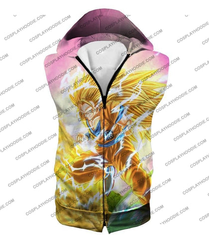 Image of Dragon Ball Super Awesome Saiyan 3 Goku Cool Anime Promo Graphic T-Shirt Dbs135 Hooded Tank Top / Us