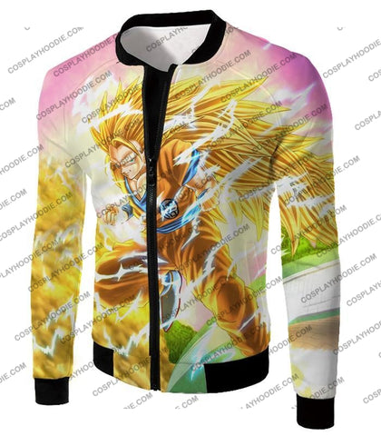 Image of Dragon Ball Super Awesome Saiyan 3 Goku Cool Anime Promo Graphic T-Shirt Dbs135 Jacket / Us Xxs