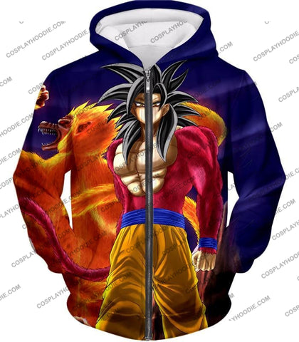 Image of Dragon Ball Super Controlled Beast Form Goku Saiyan 4 Awesome Promo Blue T-Shirt Dbs136 Zip Up