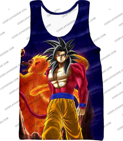 Image of Dragon Ball Super Controlled Beast Form Goku Saiyan 4 Awesome Promo Blue T-Shirt Dbs136 Tank Top /