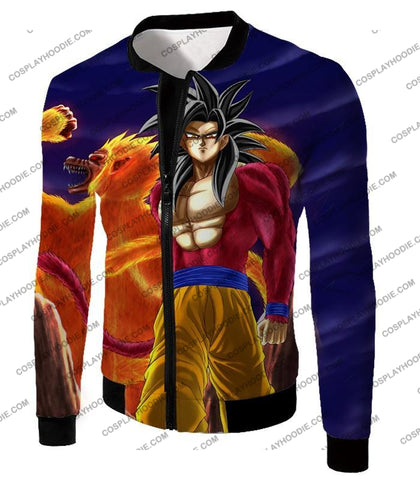 Image of Dragon Ball Super Controlled Beast Form Goku Saiyan 4 Awesome Promo Blue T-Shirt Dbs136 Jacket / Us