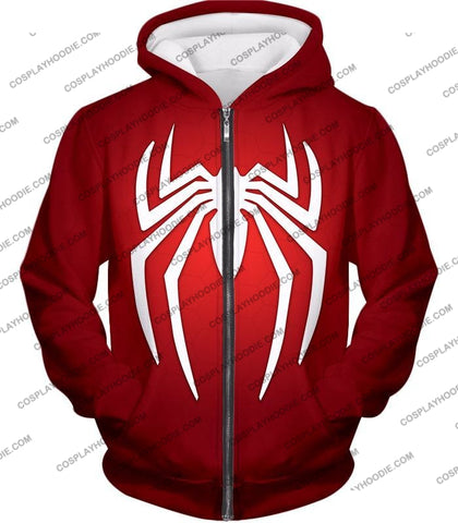 Image of Super Spiderman Logo Red Awesome T-Shirt Sp137 Zip Up Hoodie / Us Xxs (Asian Xs)