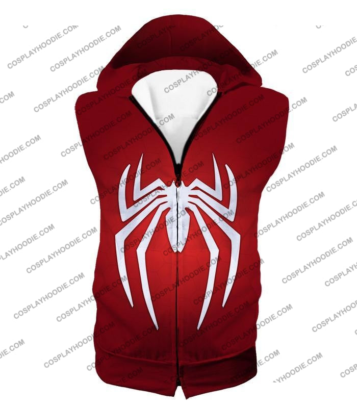 Super Spiderman Logo Red Awesome T-Shirt Sp137 Hooded Tank Top / Us Xxs (Asian Xs)